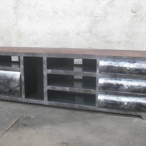 Meuble TV, en métal et bois, modèle LUCKY