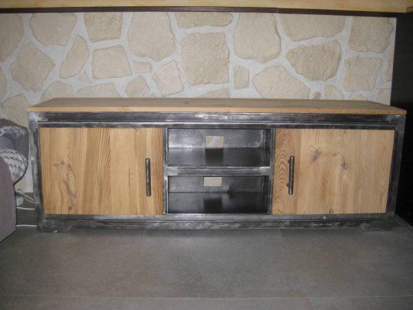 Meuble tv en métal et bois , modèle REBEL