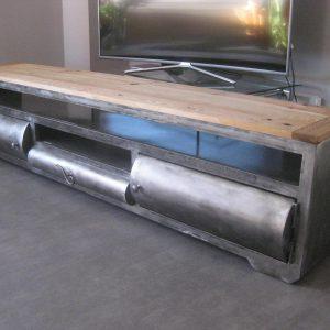 Meuble TV en métal et bois, modèle STATION