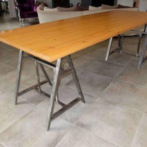 Table de salle à manger en métal et bois modèle TWINS 1